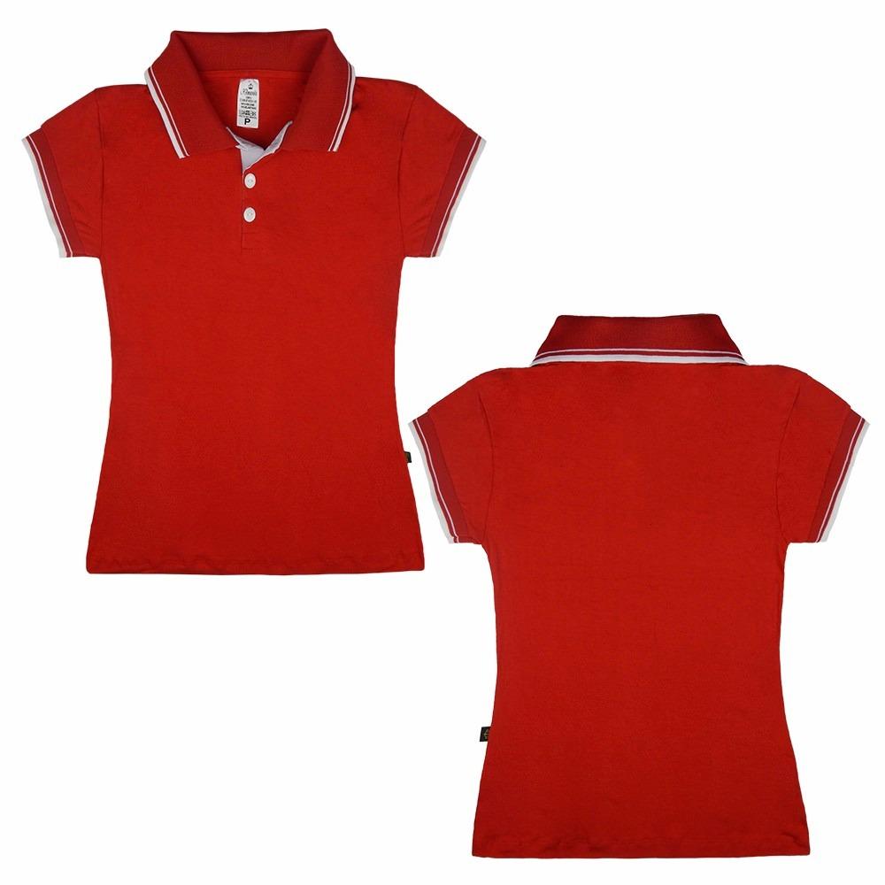 kit 5 camisas polo feminina plus size gg uniforme casual. Carregando zoom. 58a649148cddc