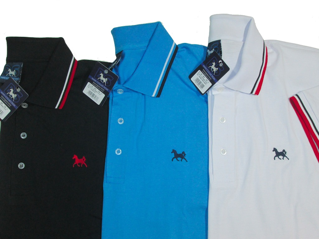 Camisa polo masculina lisa em algodo fio mescla com modelagem baa0d463bbb13