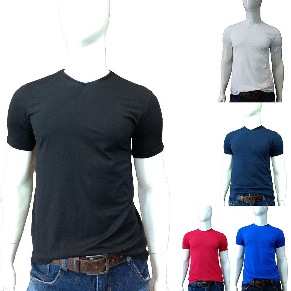 bad86df273 Kit 5 Camiseta Camisa Gola V Masculina Básica Lisa Algodão - R  119 ...