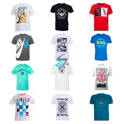 kit 5 camiseta camisa masculina estampada de marca revenda