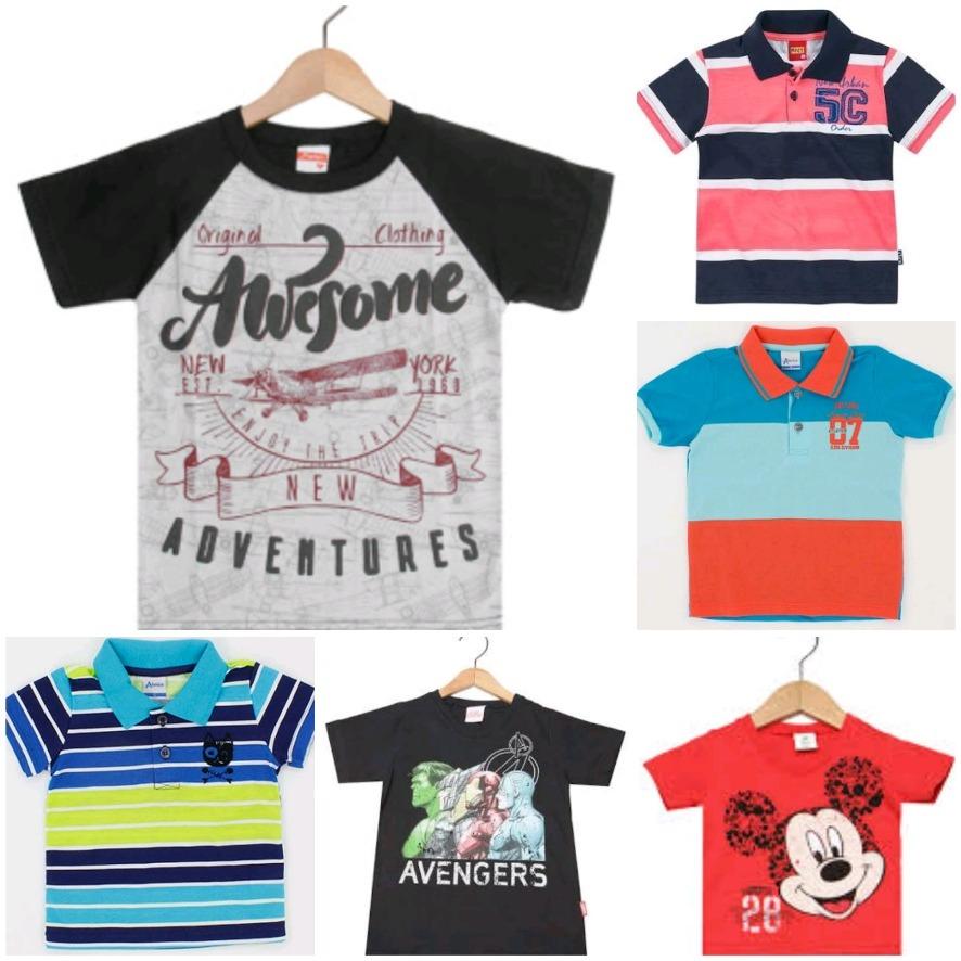 Kit 5 Camiseta Infantil Masculino Manga Curta regata T-1 E 2 - R  38 ... 60d3c5f07eeee