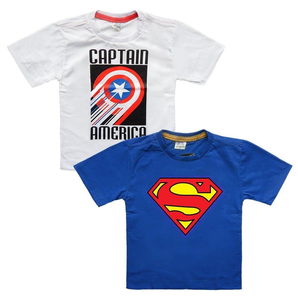 9e21e46f3bc8d Kit 5 Camiseta Infantil Super Heróis Serigrafia Personagens - R  60 ...