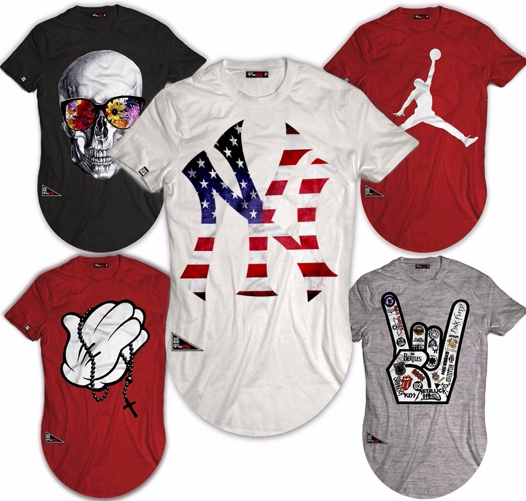 17886c1dbf kit 5 camiseta longline oversized estampas top frete grátis. Carregando  zoom.