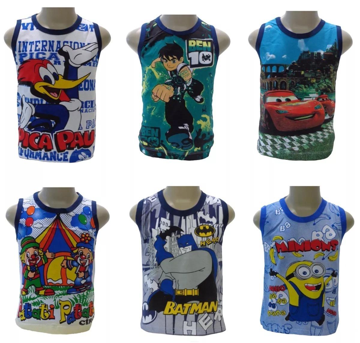 kit 5 camiseta regata infantil menino super heróis. Carregando zoom. d0bd41ed772