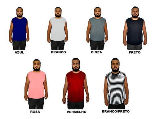 kit 5 camiseta regata masculina machão plus size até g6