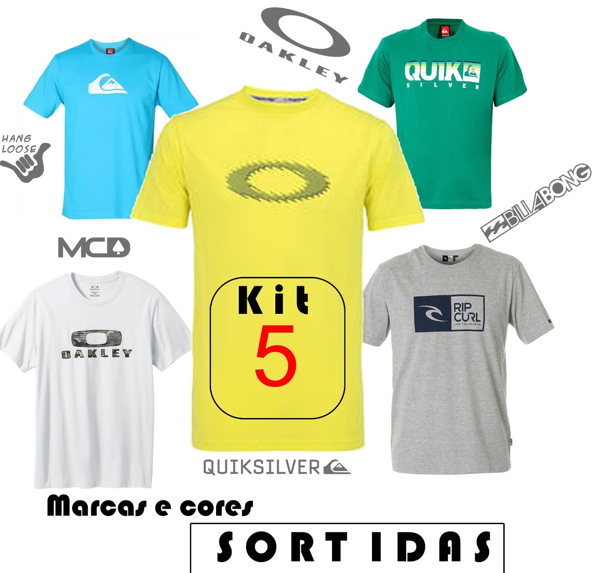 ... kit 5 camisetas camisa surf atacado oakley quick la cores. Carregando  zoom. 408bdc85617