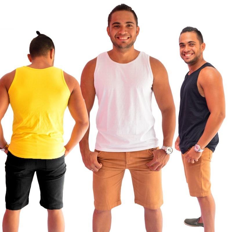 kit 5 camisetas regata camisa academia masculina 100%algodão. Carregando  zoom. 97b695389ed
