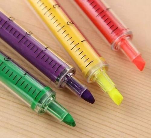 kit 5 canetas seringa injeção marca texto