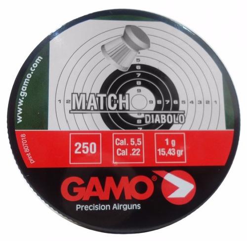 kit 5 chumbinho gamo match diabolo 5.5mm 250un.