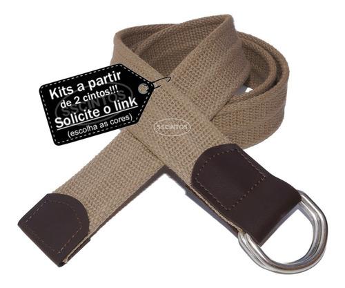 kit 5 cintos masculino lona premium c/ argola 4,0cm ref l47