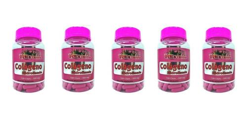kit 5 colágeno hidrolisado 120 caps 500mg rei terra