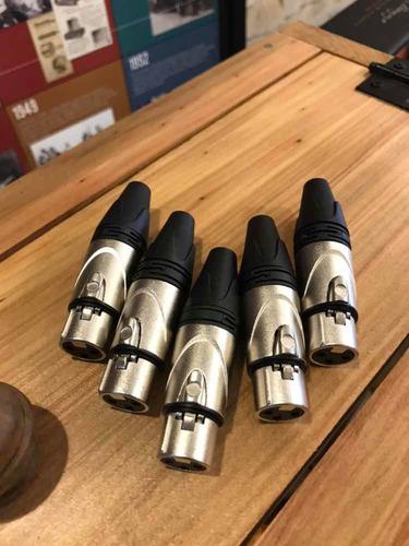 kit 5 conector xlr tipo neutrik fêmea
