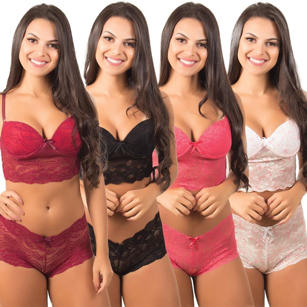 b7dcffd29 kit 5 conjunto lingerie cropped com bojo luxo renda sensual. Carregando zoom .