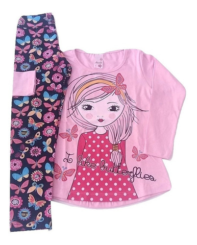 kit 5 conjuntos infantil menina meia estação roupa inverno