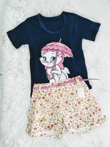 kit 5 conjuntos personagens babylook shorts jeans  menina