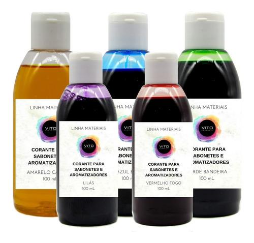kit 5 corantes 100ml p/ sabonetes aromatizadores cosméticos