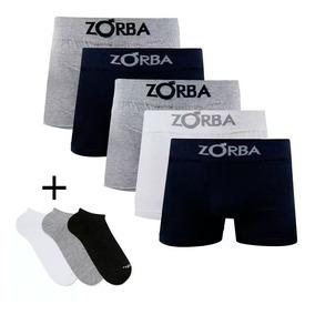 1b8a82e5b8d394 Kit 5 Cuecas Zorba Boxer Box Sem Costura + 3 Meias Mash 0.02