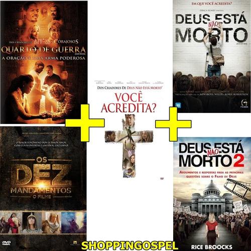 kit 5 dvds filmes gospel voce acredita?  e outros originais