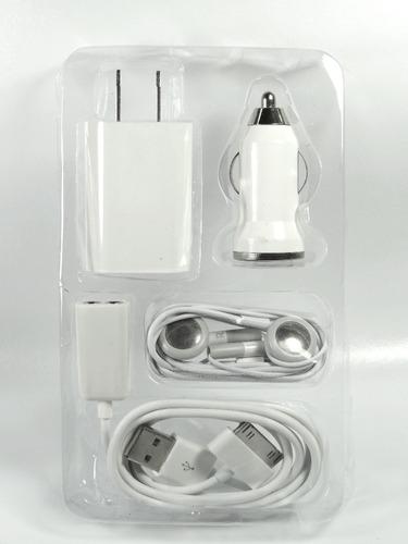 kit 5 en 1cargador cable usb handsfree iphone ipod 4s 5s