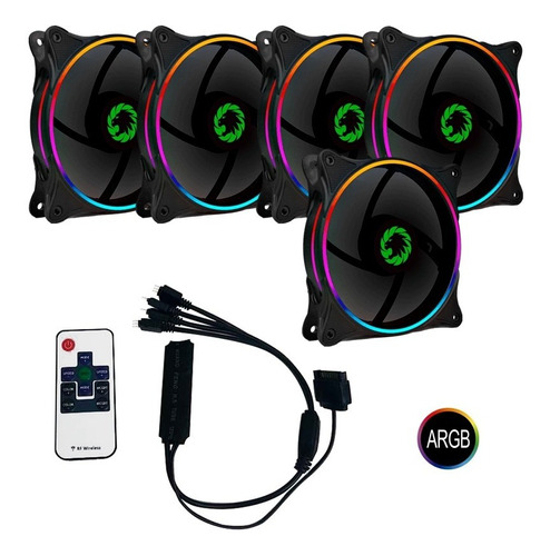 kit 5 fan argb +controladora +controle remoto gamemax mirage
