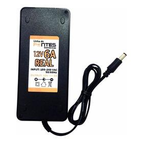 Kit 5 Fontes 12v 6a Real Cabo Ac Plug P4 Mesa Cftv Led