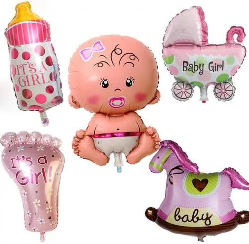 kit 5 globos metalizados baby shower niña