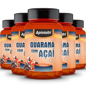 Kit 5 Guaraná Com Açaí 500mg Oil Apisnutri Com 60 Cápsulas