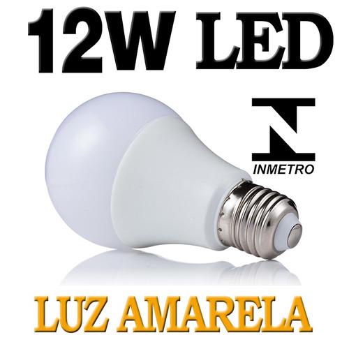kit 5 lampada led 12w bulbo e27 bivolt amarela casa comercio