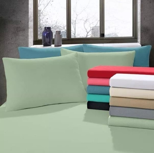 kit 5 lençóis queen lisos com elástico + 10 fronhas lisas
