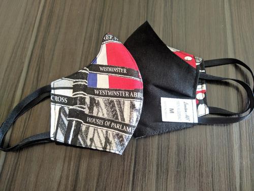 kit 5 máscaras de proteção 100%algodão reutilizável london