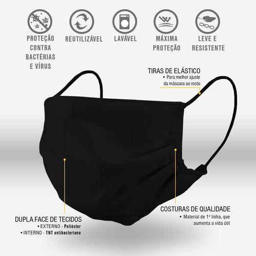 kit 5 máscaras tecido pano não descartável reutilizável