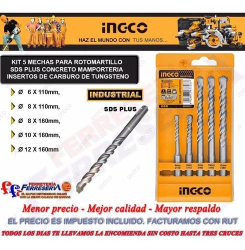 kit 5 mechas rotomartillo sds plus concreto ingco industrial