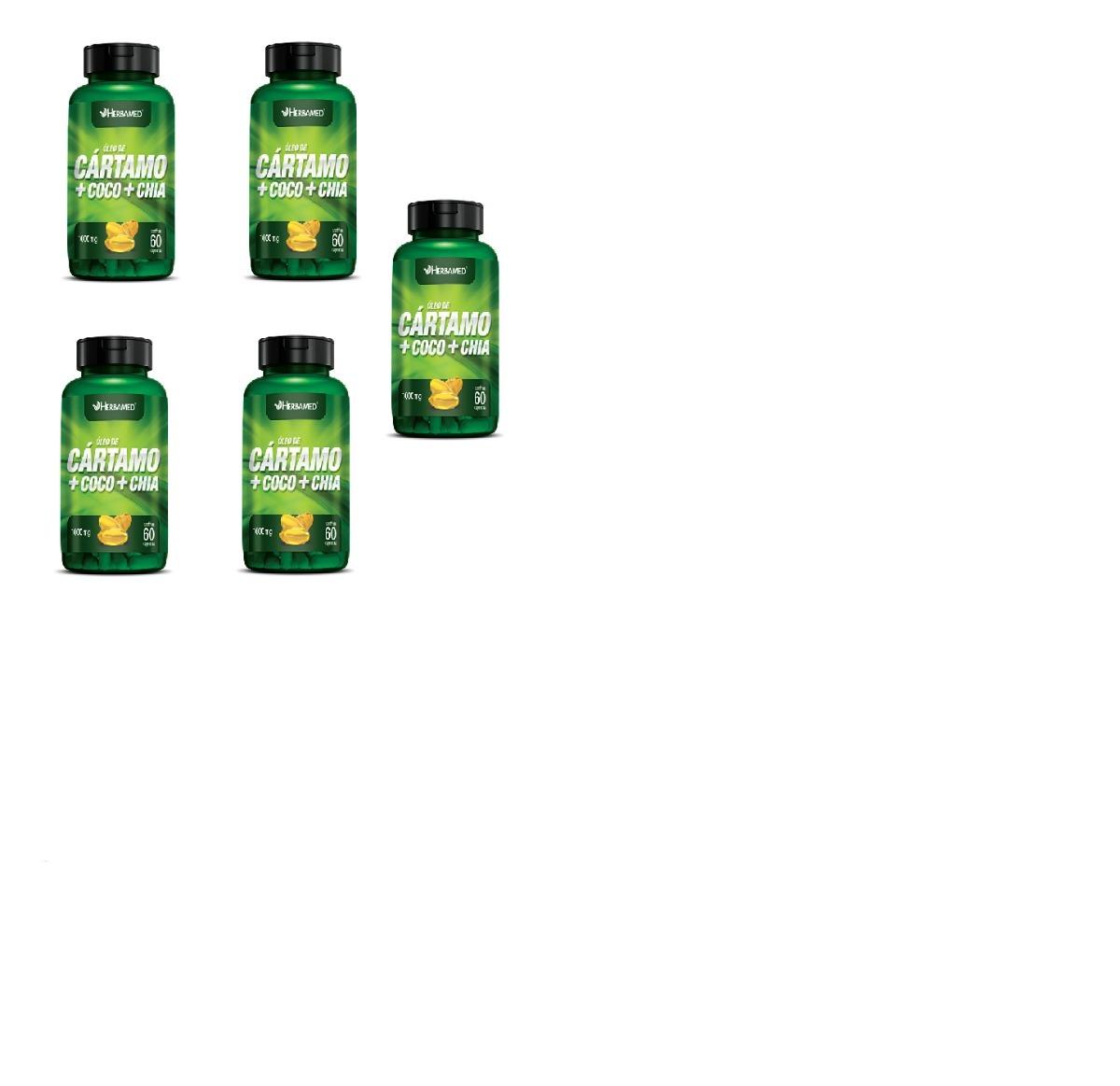 6c2f779f8 kit 5 oleo de cartamo + coco + chia 60cps 1000mg herbamed. Carregando zoom.