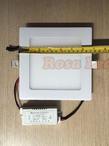 kit 5 painel embutir 12w 3 cores quadrado rosa led