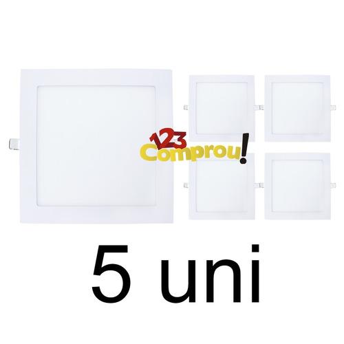 kit 5 painel plafon 25w led quadrado embutir branco frio