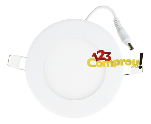 kit 5 painel plafon 6w led embutir branco frio redondo
