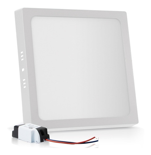 kit 5 painel plafon sobrepor 18w led quadrado branco frio