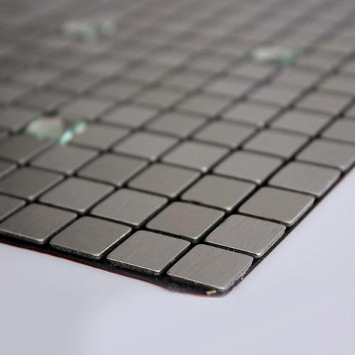 kit 5 pastilhas adesivas metalizada prateada 30cmx30cm d74