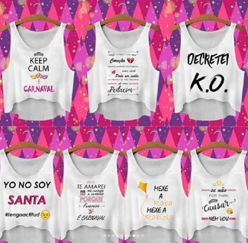 Kit 5 Peças Blusinha T Shirts Cropped Regata Carnaval 2018