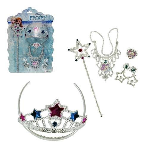 kit 5 peças princesa frozen disney tiara acessorios criança