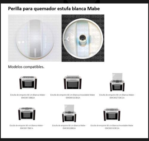 kit 5 perillas blancas para estufa mabe