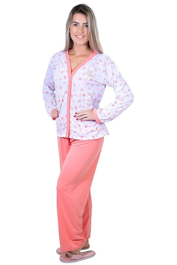 92e3f07c4d98b1 Kit 5 Pijama Longo Adulto Feminino Blusa Aberta Botões Calça