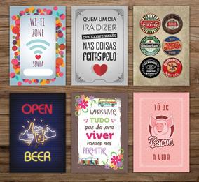 Kit 5 Placas Decorativas Frase Motivacional Humor Bebidas
