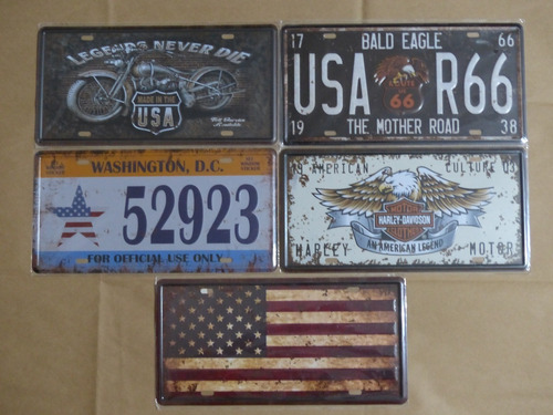 kit 5 placas metal decorativas harley davidson route 66 usa