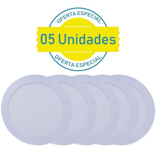 kit 5 plafon 25w redondo led painel embutir branco frio