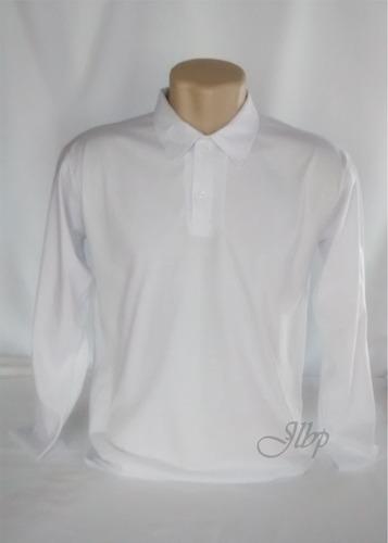 kit 5 polo masculino manga longa-malha algodão