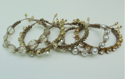 kit 5 pulseiras femininas macrame shambala strass preta