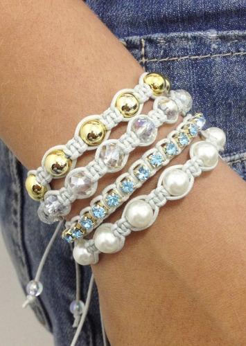 kit 5 pulseiras femininas macrame shambalas strass perolas