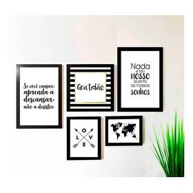 Kit 5 Quadros Decorativos Gratidão Mapa Frases Sala Promoção
