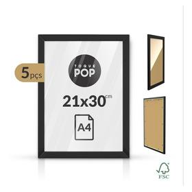 Kit 5 Quadros Porta Retrato Foto Moldura C/ Vidro A4 30x21